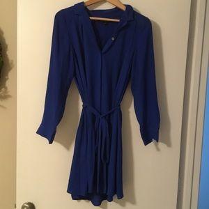 Long Sleeve, Tie Waisted Pocket Shirt Dress